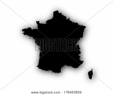 Map Of France With Shadow