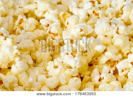A close up of popped popcorn ready to eat