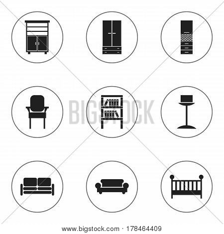 Set Of 9 Editable Home Icons. Includes Symbols Such As Material Cupboard, Child Cot, Enlightenment And More. Can Be Used For Web, Mobile, UI And Infographic Design.
