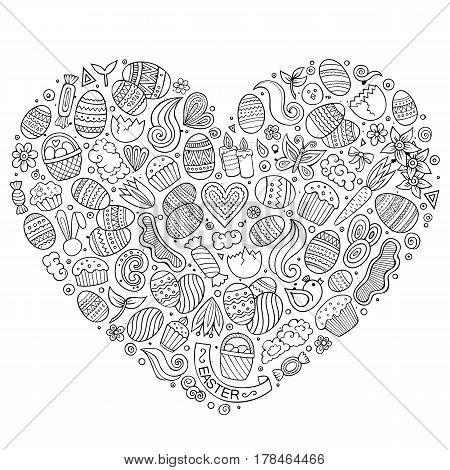 Line art vector hand drawn set of Easter cartoon doodle objects, symbols and items. Heart form composition