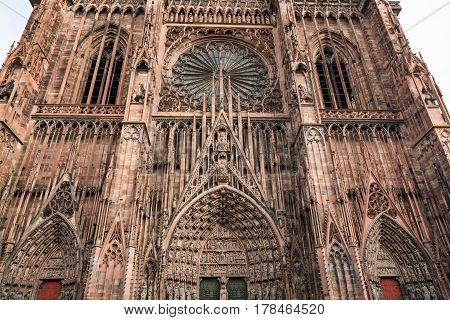 Facade of the Notre Dam of Strasbourg Cathedral in Strasbourg France