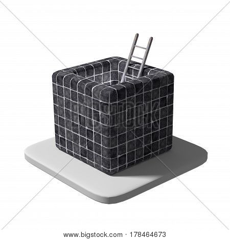 3d rendering of a ladder placed in a cube block covered with black tiles.
