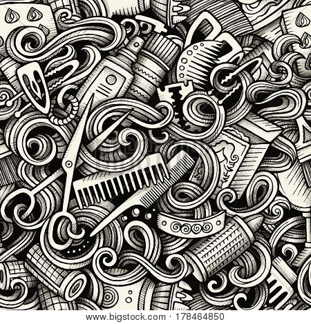 Graphic Hair salon hand drawn artistic doodles seamless pattern. Monochrome, detailed, with lots of objects vector trace background