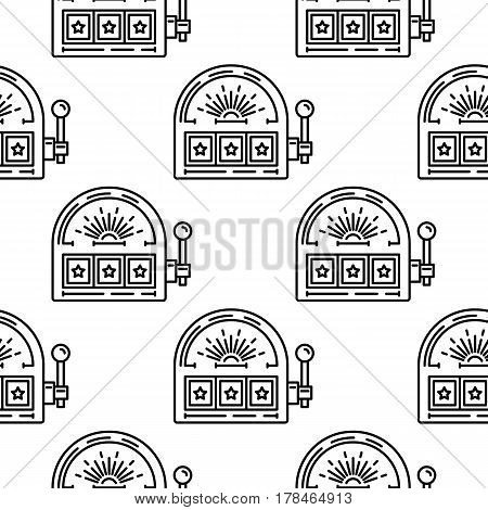Seamless vector pattern with a casino slot machine. The pattern can be used for decoration and design as the background of the casino, or for registration and branding of products casino