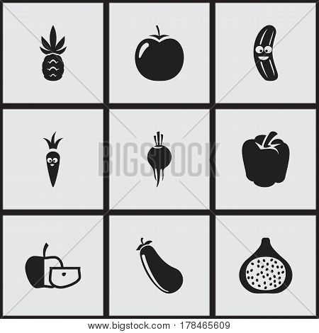 Set Of 9 Editable Cookware Icons. Includes Symbols Such As Radish, Ananas, Bulgarian Bell And More. Can Be Used For Web, Mobile, UI And Infographic Design.