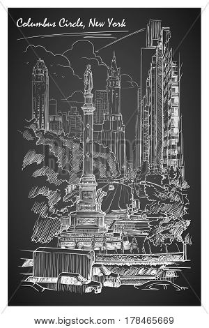 Columbus Circus and West 59th street in New York. Hand drawn chalk sketch on a blackboard. EPS10 vector illustration.