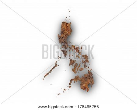 Map Of The Philippines On Rusty Metal