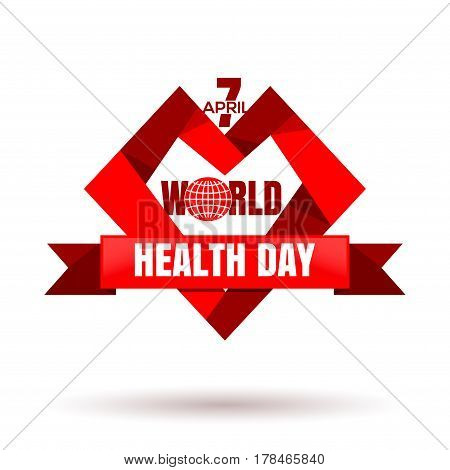 World Health Day. April 7. Vector illustration with heart ribbon and globe icon. Health Day poster