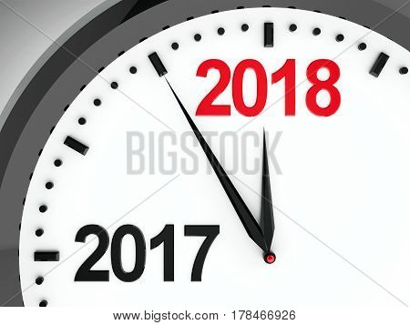 Black clock with 2017-2018 change represents coming new year 2018 three-dimensional rendering 3D illustration