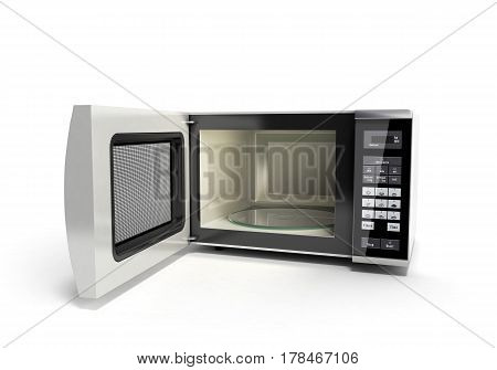 Microwave Stove Open No Shadow 3D Illustration