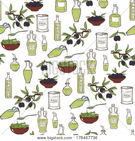 Hand Drawn doodle style Olive Oil Seamless Pattern With Sketch Olive Tree, Olive Branches And Olive Bottles. EPS10 vector illustration.