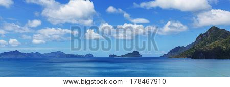 Amazing scenic view of sea bay and mountain islands, Palawan, Philippines