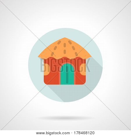 Abstract tropical red hut with orange roof. Hawaiian resort and vacations. Round flat design vector icon.