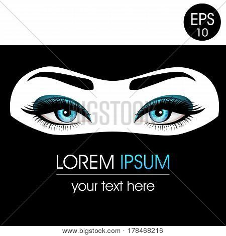 Beautiful Woman's eyes in niqab. Realistic blue eyes with chic eyelashes for your design