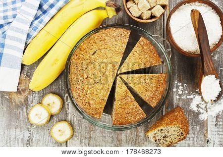 Banana Cake And Fresh Bananas