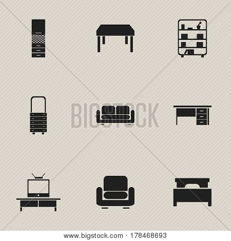 Set Of 9 Editable Furniture Icons. Includes Symbols Such As Bookshelf, Wall Mirror, Stillage And More. Can Be Used For Web, Mobile, UI And Infographic Design.