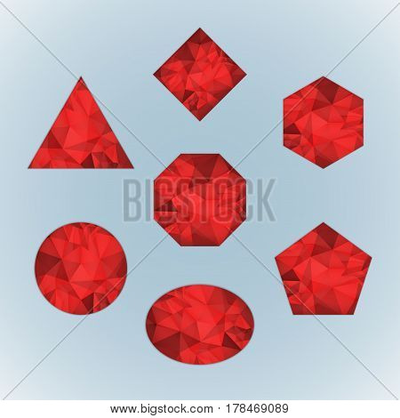 Set of ruby isolated on light blue background