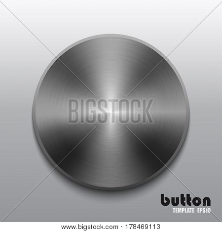 Template of round button with dark steel texture isolated on gray scale background