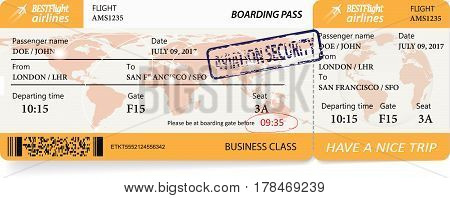 Airline boarding pass ticket with a map over background. Vector illustration.