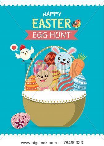 Vintage Easter Egg poster design with Easter rabbit, bird
