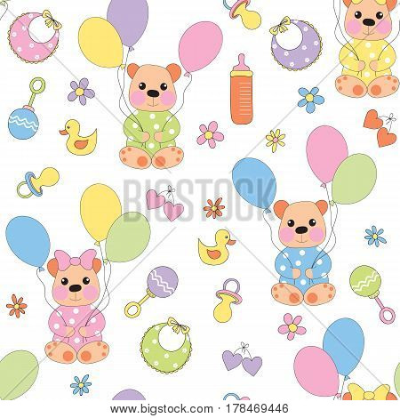 Seamless baby background with baby-bear balloons and children's accessories. Vector illustration.