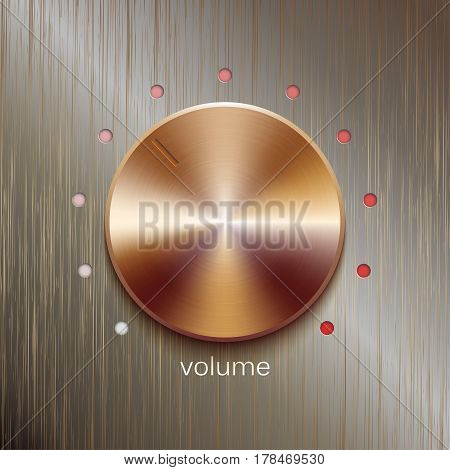 Volume button, sound control, music knob with bronze or golden texture and scale isolated on bronze polished texture background