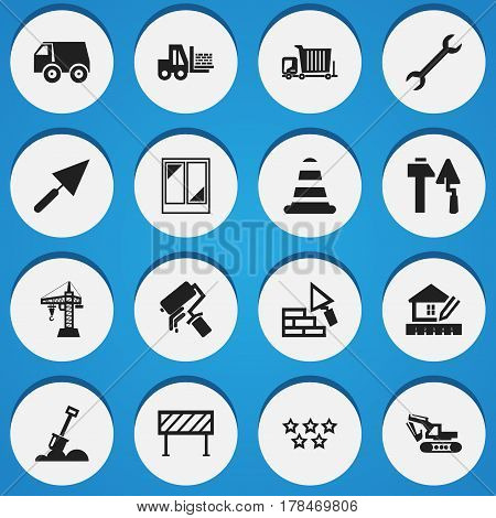 Set Of 16 Editable Building Icons. Includes Symbols Such As Barrier, Scrub, Wrench And More. Can Be Used For Web, Mobile, UI And Infographic Design.