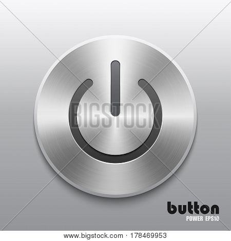 Power button with metal brushed aluminum chrome texture isolated on gray scale background