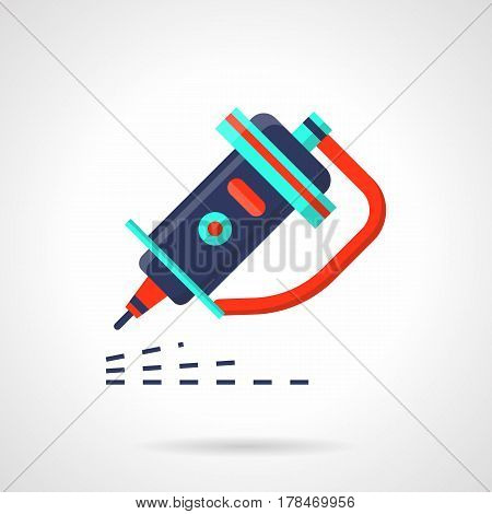 Nozzle of laser machine for cutting and engraving different surfaces. Modern industrial technology. Flat color style vector icon.