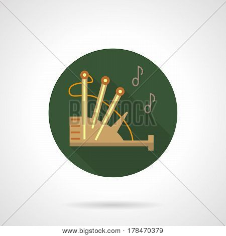 Beige bagpipe with abstract outline noted. Woodwind reed music instrument. Round flat design vector icon.