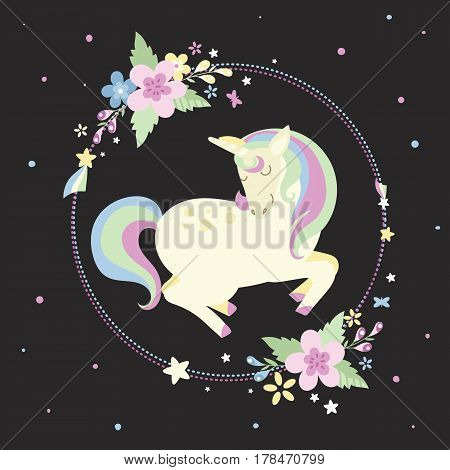 Unicorn with a round frame with flowers and stars in pastel colors on a black background. Perfect for decorating presents scrapbook pages cards party decorations book/journal cover product design apparel planners invitations