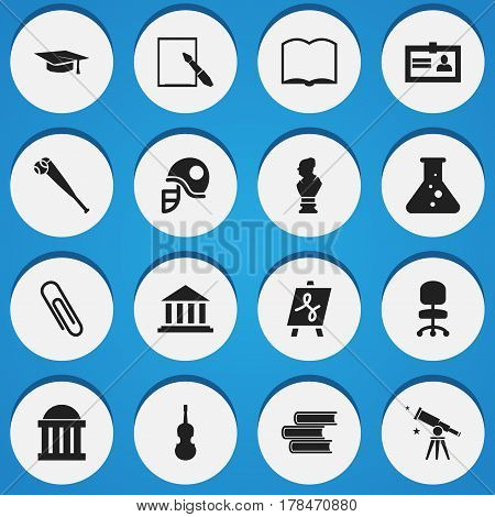 Set Of 16 Editable Education Icons. Includes Symbols Such As Book, Fiddle, Binoculars And More. Can Be Used For Web, Mobile, UI And Infographic Design.