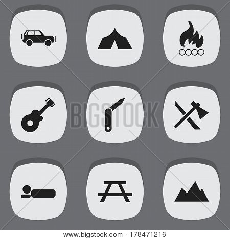 Set Of 9 Editable Trip Icons. Includes Symbols Such As Peak, Tomahawk, Clasp-Knife And More. Can Be Used For Web, Mobile, UI And Infographic Design.
