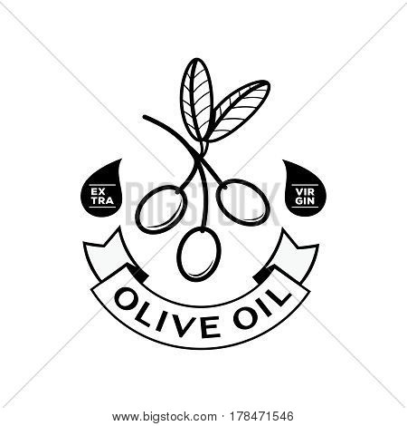 extra virgin olive oil logo design with ribbon and oil drop and olive fruit with leaf