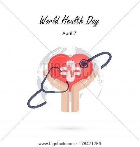 Globe Signhuman Hand And Stethoscope Icon With Heart Shape Vector Logo Design TemplateWorld Health