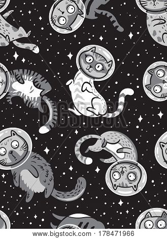 Cats astronauts in space seamless pattern. Cosmic vector childish illustration. Black space background