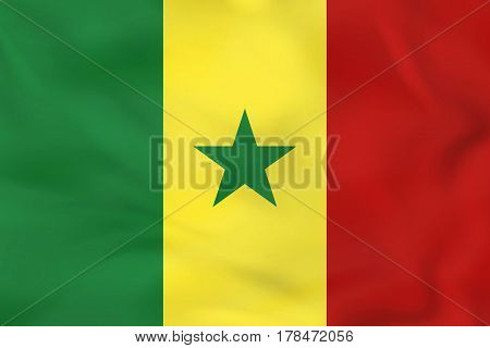 Senegal Waving Flag. Senegal National Flag Background Texture.