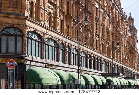 LONDON, UK - SEPTEMBER 8, 2016:  Harrods department store in Knightsbridge