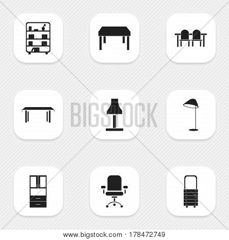 Set Of 9 Editable Furniture Icons. Includes Symbols Such As Wardrobe, Glim, Ergonomic Seat And More. Can Be Used For Web, Mobile, UI And Infographic Design.