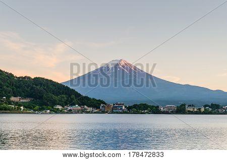 Mount fuji and sunset sky at kawaguchiko lake japan