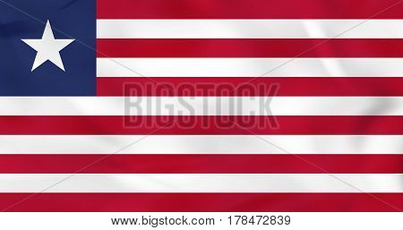 Liberia Waving Flag. Liberia National Flag Background Texture.
