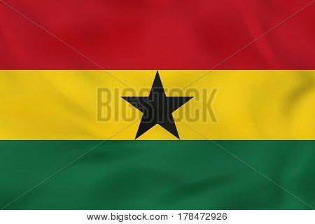 Ghana Waving Flag. Ghana National Flag Background Texture.