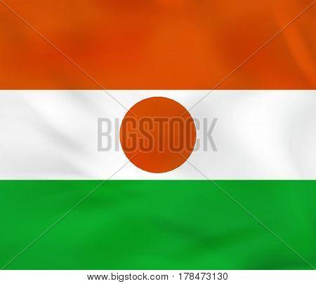 Niger Waving Flag. Niger National Flag Background Texture.