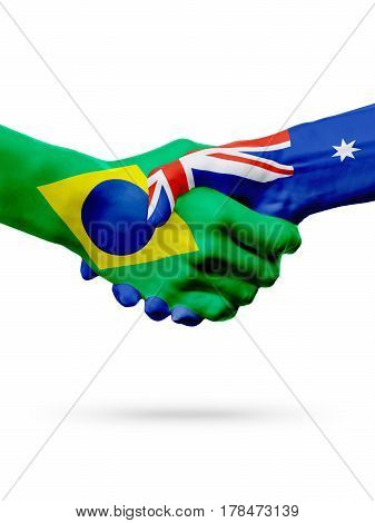 Flags Brazil Australia countries handshake cooperation partnership friendship or sports team competition concept isolated on white