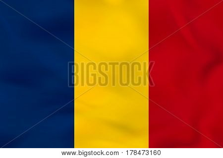 Chad Waving Flag. Chad National Flag Background Texture.