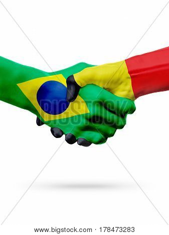 Flags Brazil Belgium countries handshake cooperation partnership friendship or sports team competition concept isolated on white