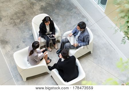 Top view of business people discussion