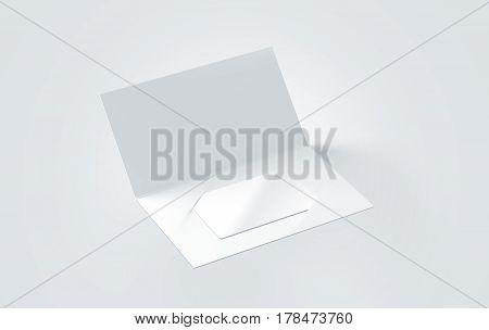 Blank white plastic card mockup inside paper booklet holder 3d rendering.
