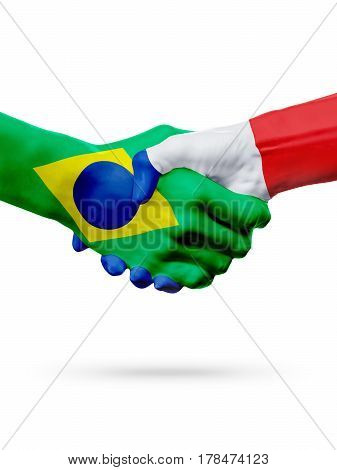 Flags Brazil France countries handshake cooperation partnership friendship or sports team competition concept isolated on white