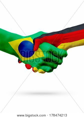 Flags Brazil Germany countries handshake cooperation partnership friendship or sports team competition concept isolated on white